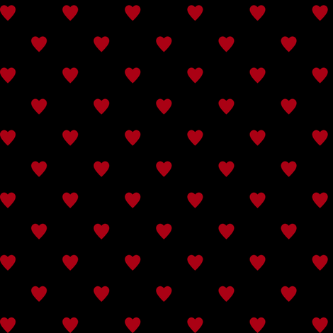 Dark Red Hearts on Black fabric by mtothefifthpower on Spoonflower - custom fabric