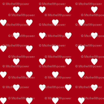 White Hearts on Dark Red
