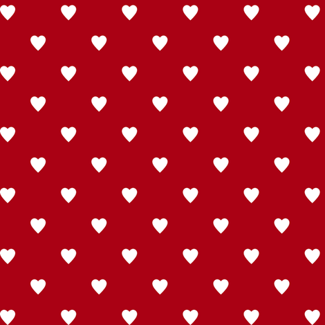 White Hearts on Dark Red fabric by mtothefifthpower on Spoonflower - custom fabric