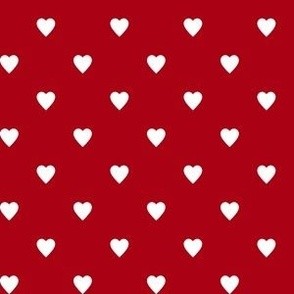 White Hearts on Dark Red
