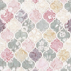 Dusky Rose, Cream and Grey Floral Moroccan Tiles