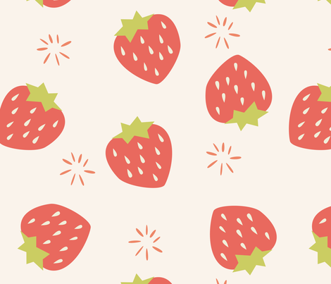 Strawberry Pattern Fabric Bluelela Spoonflower Adorable Strawberry Pattern