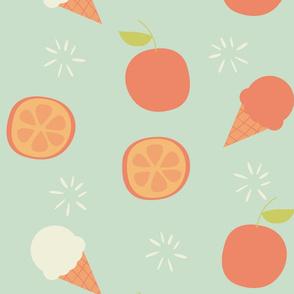Orange and ice cream pattern