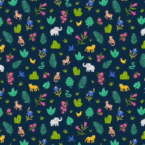 Jungle wildlife pattern fabric by stolenpencil on Spoonflower - custom fabric