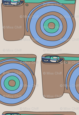 Retro Vintage Camera || Photography Taupe Mint green Periwinkle Tan on Cream_Miss Chiff Designs