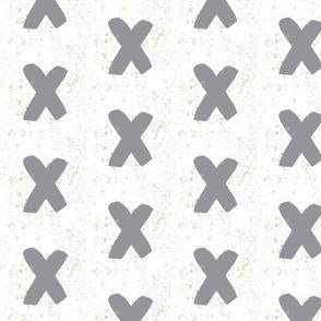 Watercolor Grey Splatter Crosses - Grey Crosses