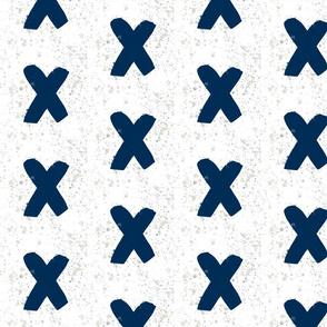 Watercolor Navy Splatter Crosses - Navy Crosses