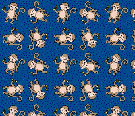 Monkey_Polka_Dot_Blue_Scheme fabric by stephanierae_ca on Spoonflower - custom fabric
