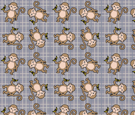 Monkey_Tattersall_Grey_Scheme fabric by stephanierae_ca on Spoonflower - custom fabric