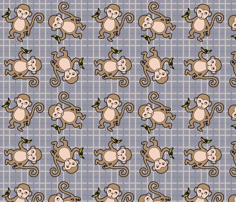 Monkey_Tattersall_Grey_Scheme fabric by stephanierae_ca on Spoonflower - custom fabric