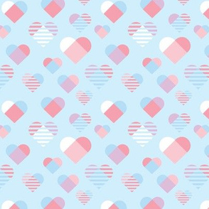 Graphic Hearts - Blue and Coral