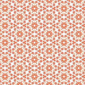 Dainty Little Orange Flower Circle Pattern