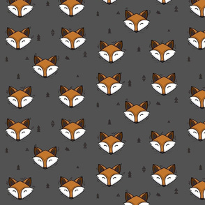 fox head - dark grey // cute trendy hipster bear woodland kids nursery baby design