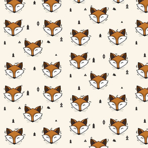 fox head - cream // cute trendy hipster bear woodland kids nursery baby design