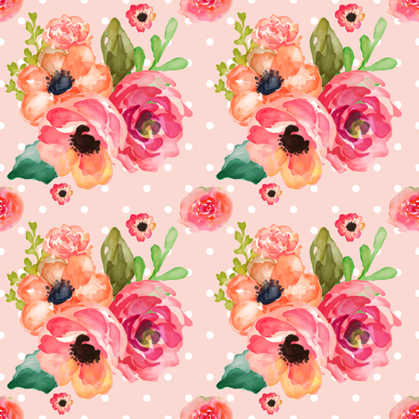 Floral Polka in Pink fabric by shopcabin on Spoonflower - custom fabric