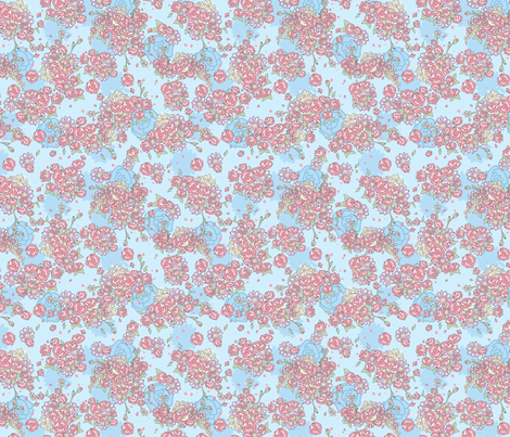 Delicate Floral - Blue and Coral fabric by electrogiraffe on Spoonflower - custom fabric