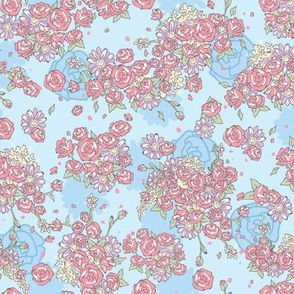 Delicate Floral - Blue and Coral