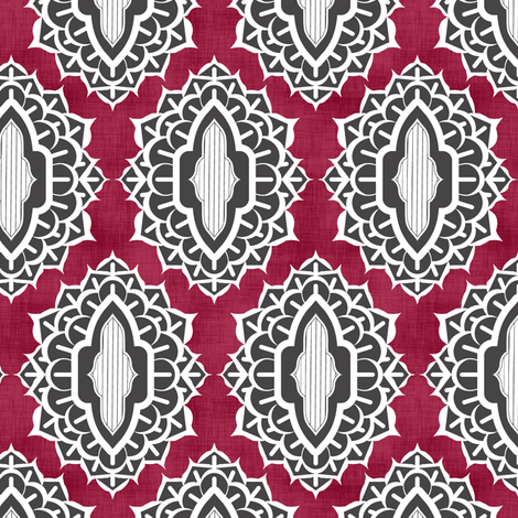 Arabesque Medallions Red fabric by pond_ripple on Spoonflower - custom fabric
