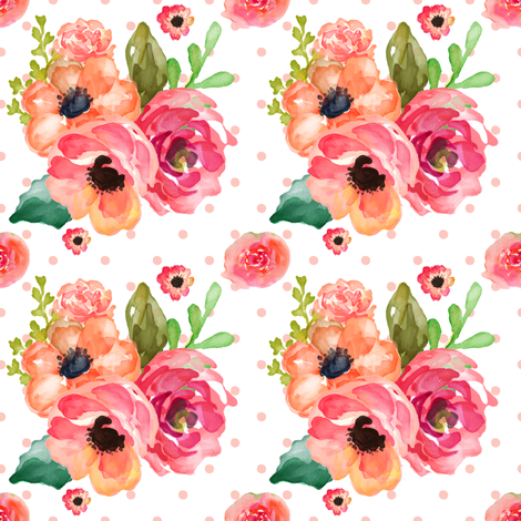 Floral Polka in White & Pink  fabric by shopcabin on Spoonflower - custom fabric