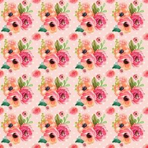 Mini Floral Polka in Pink