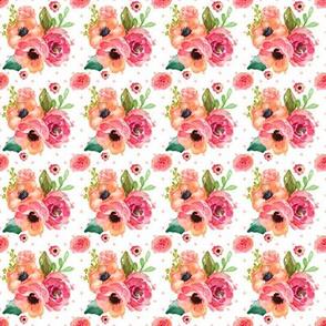 Mini Floral Polka in White & Pink