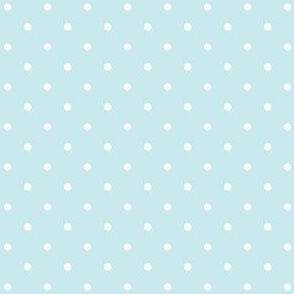 Polka Dots Blue on White Background