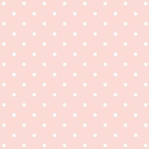 Polka Dots White on Pink background