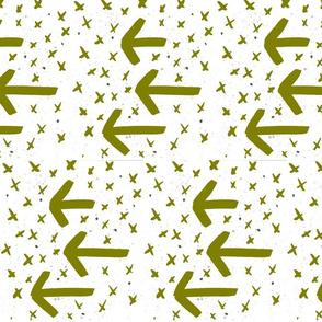Olive watercolor arrows - arrows and crosses