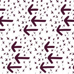 Dark Eggplant Watercolor Arrows - arrows and crosses
