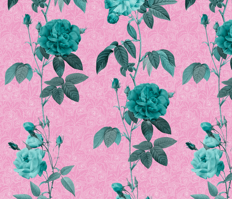 Antique Roses - vertical rows - minty on pink fabric by kura_carpenter on Spoonflower - custom fabric
