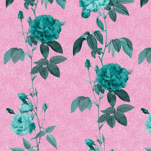 Antique Roses - vertical rows - minty on pink