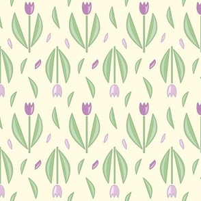 Graphic tulips Cream and lilac