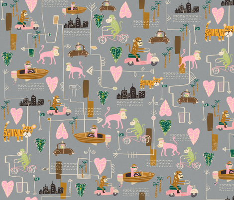 Monkey-Go fabric by skbird on Spoonflower - custom fabric