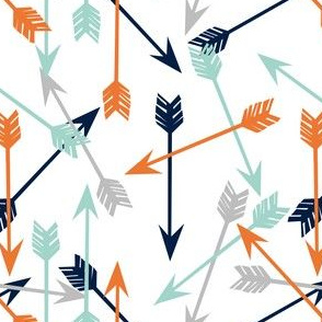 arrows // boys room orange navy mint grey camping quilt arrows