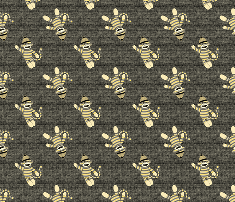 monkey scatter - yellow and black fabric by designed_by_debby on Spoonflower - custom fabric