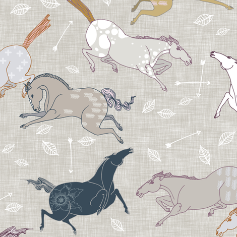 Wild Horses (small) fabric by nouveau_bohemian on Spoonflower - custom fabric