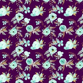 Mint Flowers on Plum