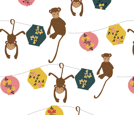 Year of the Monkey fabric by vieiragirl on Spoonflower - custom fabric