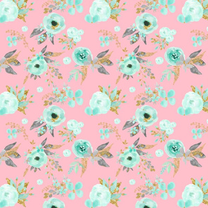 Mint Flowers on Pink