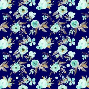 Mint Flowers on Dark Teal