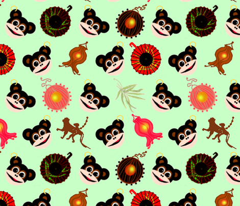 Year Of The Monkey, Mint fabric by mopeysealion on Spoonflower - custom fabric