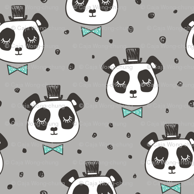 Panda Head with Mint Bow Tie and Hat Dots on Grey