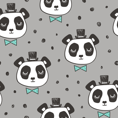 Panda Head with Mint Bow Tie and Hat Dots on Grey fabric by caja_design on Spoonflower - custom fabric