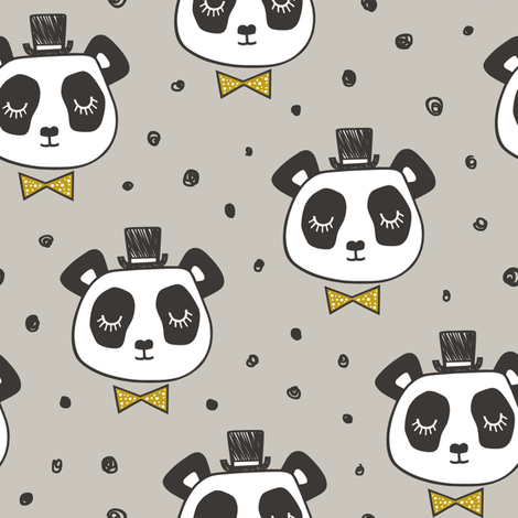 Panda Head with Gold Bow Tie and Hat Dots  fabric by caja_design on Spoonflower - custom fabric