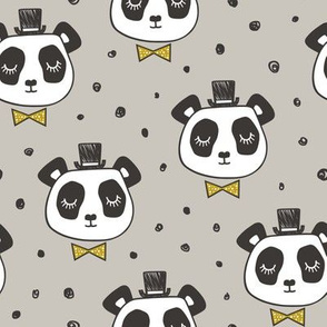 Panda Head with Gold Bow Tie and Hat Dots