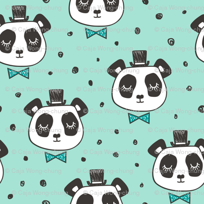 Panda Head with Bow Tie and Hat Dots on Mint