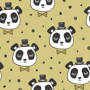 Panda Head with Bow Tie and Hat Dots on Gold