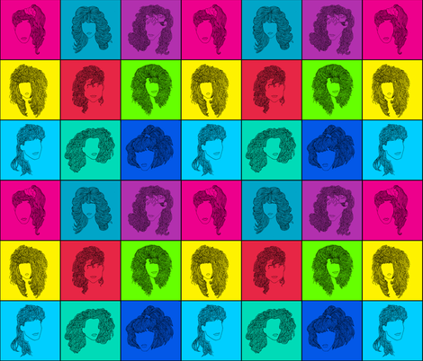 80s Hair Large Pattern fabric by landfish on Spoonflower - custom fabric