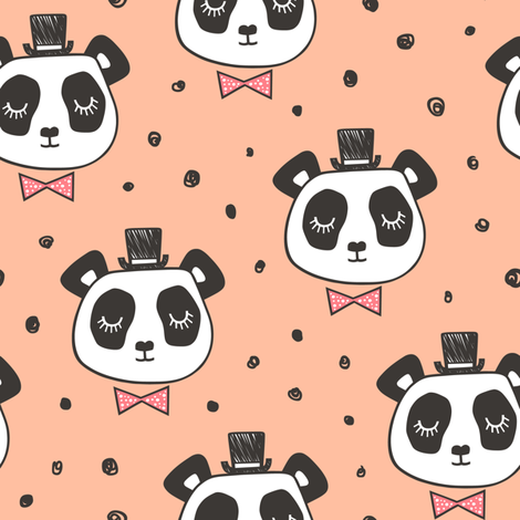 Panda Head with Bow Tie and Hat Dots on Peach fabric by caja_design on Spoonflower - custom fabric