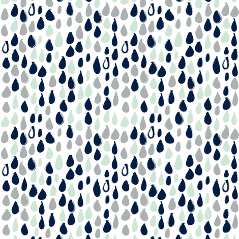 Pencil sketch geometry - grey and mint - raindrops 02 fabric by aliceelettrica on Spoonflower - custom fabric